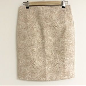 J. Crew Gold Embroidered Floral Skirt Pencil
